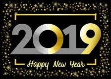 2019 saludos de oro de Navidad de la Feliz Año Nuevo del brillo libre illustration