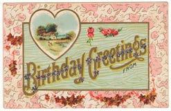 Saludos del cumpleaños de la postal del vintage foto de archivo