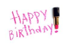 Saludos del cumpleaños del lápiz labial Imagen de archivo