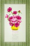 Saludos del día de fiesta con los peonies y el florero amarillo Fotografía de archivo