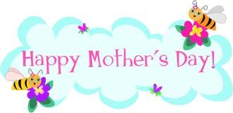 Saludos del día de Motherâs por las abejas lindas ilustración del vector