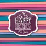 Saludos del feliz cumpleaños con la etiqueta en fondo del color Vector Fotos de archivo