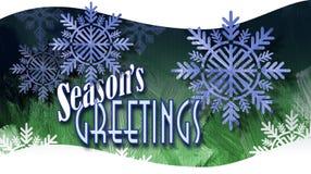 Saludos del ` s de la estación de la Navidad con los ornamentos del copo de nieve en vagos de la onda Fotografía de archivo