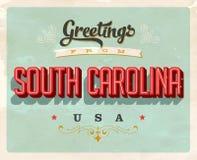 Saludos del vintage de Carolina Vacation Card del sur ilustración del vector