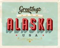 Saludos del vintage de la tarjeta de vacaciones de Alaska stock de ilustración