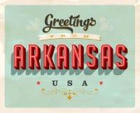Saludos del vintage de la tarjeta de vacaciones de Arkansas ilustración del vector