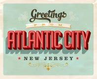 Saludos del vintage de la tarjeta de vacaciones de Atlantic City ilustración del vector