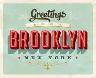Saludos del vintage de la tarjeta de vacaciones de Brooklyn ilustración del vector
