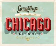 Saludos del vintage de la tarjeta de vacaciones de Chicago ilustración del vector