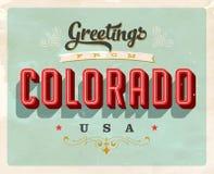 Saludos del vintage de la tarjeta de vacaciones de Colorado ilustración del vector