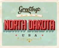 Saludos del vintage de la tarjeta de vacaciones de Dakota del Norte stock de ilustración
