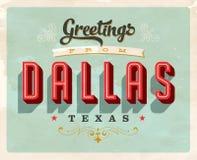 Saludos del vintage de la tarjeta de vacaciones de Dallas stock de ilustración