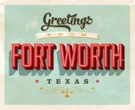 Saludos del vintage de la tarjeta de vacaciones de Fort Worth ilustración del vector