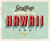Saludos del vintage de la tarjeta de vacaciones de Hawaii ilustración del vector