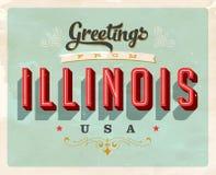 Saludos del vintage de la tarjeta de vacaciones de Illinois stock de ilustración