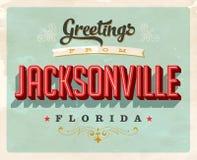 Saludos del vintage de la tarjeta de vacaciones de Jacksonville stock de ilustración