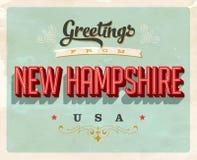 Saludos del vintage de la tarjeta de vacaciones de New Hampshire stock de ilustración