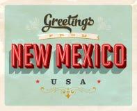 Saludos del vintage de la tarjeta de vacaciones de New México stock de ilustración