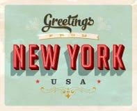 Saludos del vintage de la tarjeta de vacaciones de Nueva York stock de ilustración