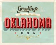 Saludos del vintage de la tarjeta de vacaciones de Oklahoma ilustración del vector
