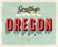 Saludos del vintage de la tarjeta de vacaciones de Oregon ilustración del vector