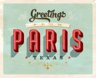 Saludos del vintage de la tarjeta de vacaciones de París Imagenes de archivo