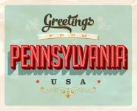 Saludos del vintage de la tarjeta de vacaciones de Pennsylvania ilustración del vector