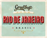 Saludos del vintage de la tarjeta de vacaciones de Rio de Janeiro Imágenes de archivo libres de regalías