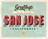Saludos del vintage de la tarjeta de vacaciones de San Jose Fotos de archivo libres de regalías