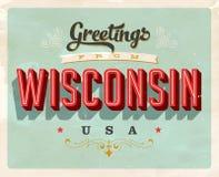 Saludos del vintage de la tarjeta de vacaciones de Wisconsin libre illustration