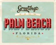 Saludos del vintage de la tarjeta de vacaciones del Palm Beach Imagen de archivo libre de regalías