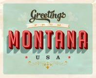 Saludos del vintage de Montana Vacation Card ilustración del vector