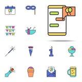 saludos en el icono coloreado teléfono Sistema universal de los iconos del cumpleaños para el web y el móvil ilustración del vector