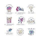 Saludos felices de la tipografía del día de tarjetas del día de San Valentín Citas del AMOR Bosqueje el ejemplo linear del estilo libre illustration