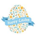 Saludos florales del huevo de Pascua libre illustration