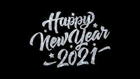 Saludos 2021, invitación de las partículas de los deseos del texto del centelleo de la Feliz Año Nuevo, fondo de la celebración stock de ilustración