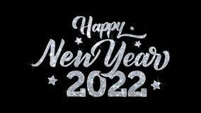 Saludos 2022, invitaci?n de las part?culas de los deseos del texto del centelleo de la Feliz A?o Nuevo, fondo de la celebraci?n stock de ilustración