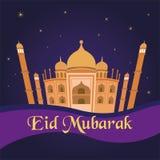 Saludos islámicos de Mubarak del eid feliz con el fondo de la mezquita Foto de archivo libre de regalías