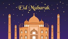 Saludos islámicos de Mubarak del eid feliz con el fondo de la mezquita Fotos de archivo