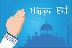 Saludos islámicos de Mubarak del eid feliz con el fondo de la mezquita Fotos de archivo libres de regalías