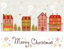 Saludos lindos de la ciudad de la Navidad Fotografía de archivo libre de regalías