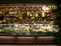 Salumi toscani. A food store in Florence, Italy, in the San Lorenzo central market Stock Photo