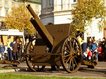Salut gunner. Salute Battery of the Polish Independence Day Royalty Free Stock Image