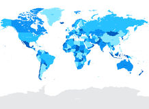 Salut illustration politique de carte du monde de vecteur bleu de détail Photo stock
