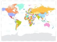 Salut le détail a coloré l'illustration politique de carte du monde de vecteur Photos libres de droits