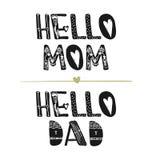 Salut maman Salut papa Citations de motivation Inspiration mignonne douce, typographie Élément de conception graphique de photo d illustration libre de droits