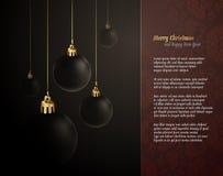 Salutation élégante de Noël avec les globes foncés Photo libre de droits