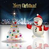 Salutation abstraite de Noël avec la silhouette de la ville Photo libre de droits