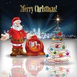 Salutation abstraite de Noël avec la silhouette de la ville Image libre de droits