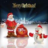 Salutation abstraite de Noël avec la silhouette de la ville Photographie stock